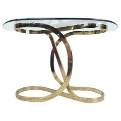 Mid-Century Modern Brass Infinity Console Table