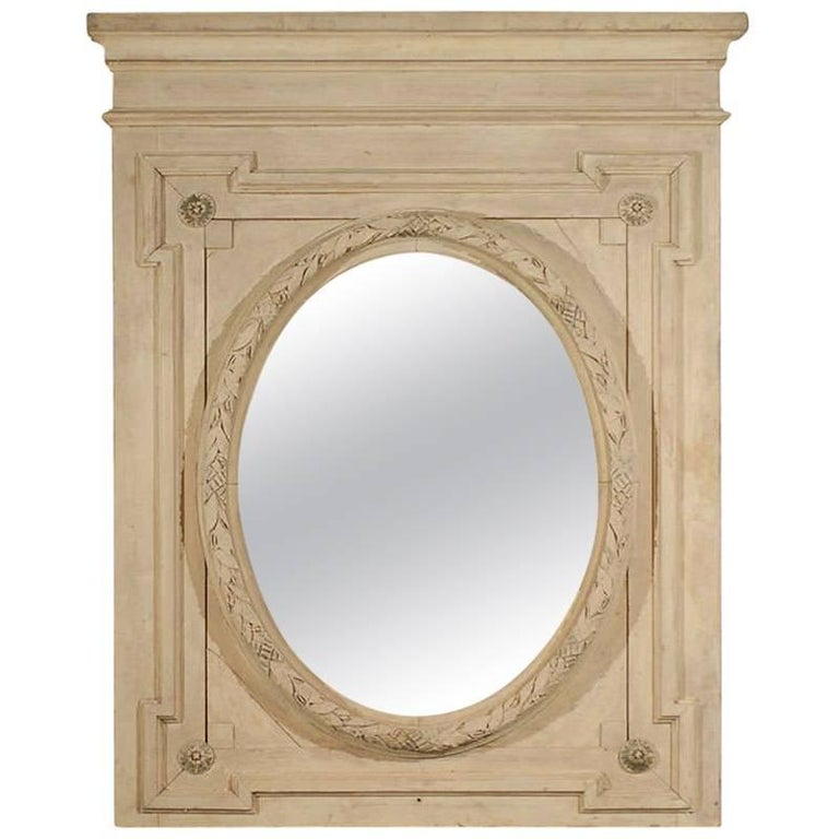 French, 1870s Louis XVI Style Painted Trumeau with Oval Garland Carved Mirror