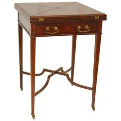 Hepplewhite Style Mahogany Handkerchief or Envelope Card Table by Baker