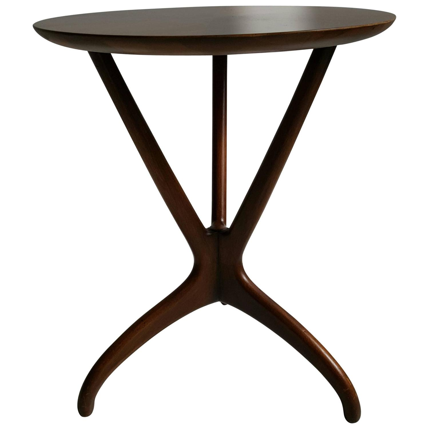 Mid Century Modern Sculptural Walnut Occasional End Table