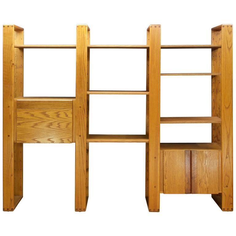 Post Modern Lou Hodges California Design Group Wall Unit Desk Oak Cabinet 1