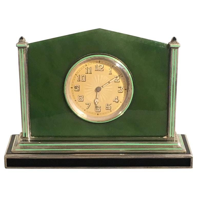 Art Deco Silver Jade Enamel Desk Clock