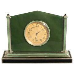 Art Deco Silver Jade Enamel Desk Clock