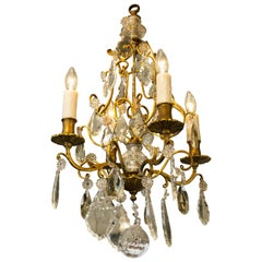Petite French Brass and Crystal Chandelier with Four Arms, circa 1900