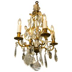 French Brass and Crystal Chandelier with Four Arms, circa 1900