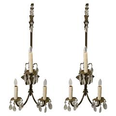 Pair of Tall French Louis XV Revival Bronze Sconces with Crystals, circa 1880