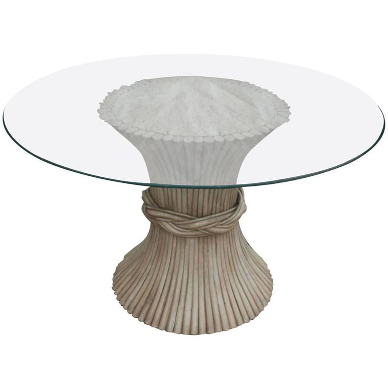 vintage round rattan dining table sheaf wheat style glass top all weather wicker and chairs room with wood