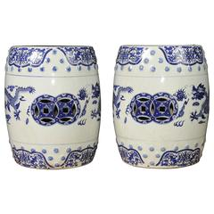 Pair of Chinese Nanking Blue and White Porcelain Garden Stools Dragon Seats