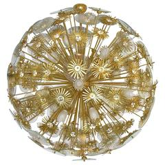 1960s Vintage One-of-a-kind Italian Round Brass and Glass Flower Chandelier