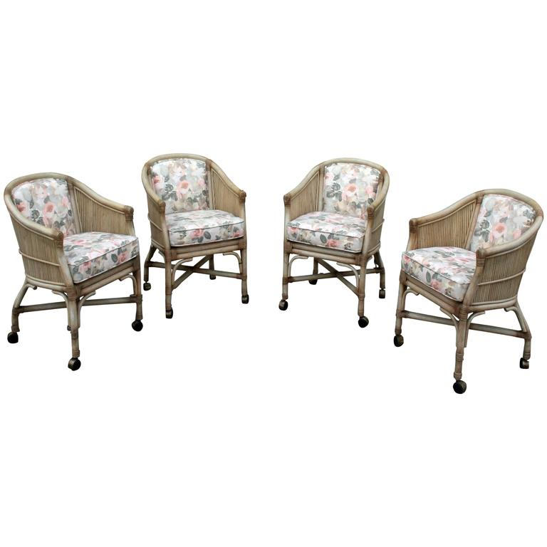Vintage McGuire Rattan Rolling Game Chairs Set Of Four At 1stdibs