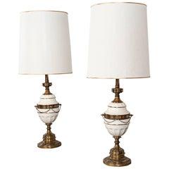 Elegant Vintage Gold Tone and White Ceramic Hollywood Regency Lamps