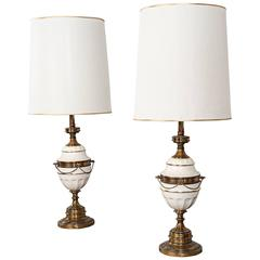 Elegant Vintage Gold Tone and White Ceramic Hollywood Regency Lamps