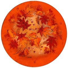 Mid-Century Sascha Brastoff Brilliant Orange Enamel Charger with Fall Leaves