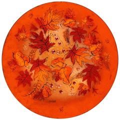 Mid-Century Sascha Brastoff Brilliant Orange Enamel Charger with Fall Leaves