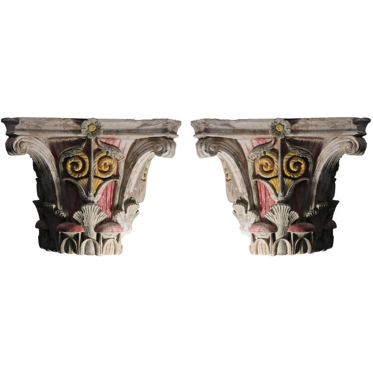 Pair of Early Large Architectural Corinthian Capitals in Plaster