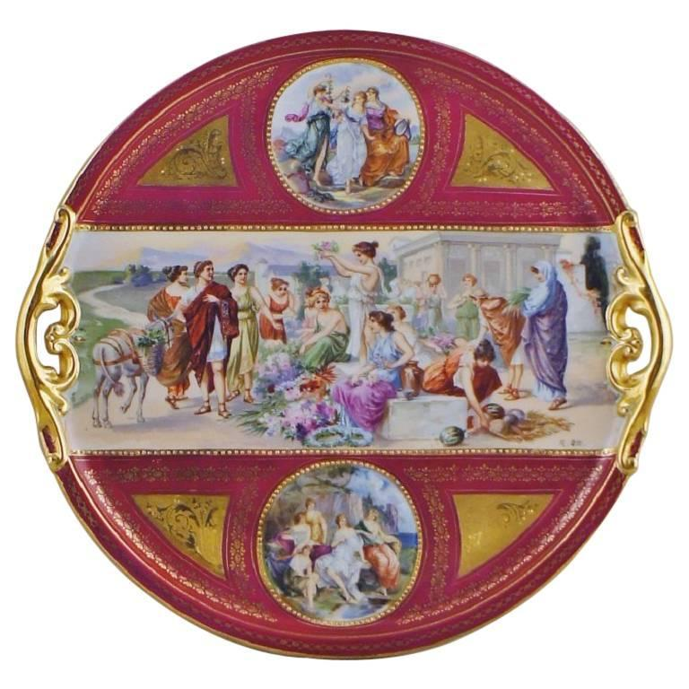 Large Vienna Dish or Serving Tray in Porcelain, Richly Decorated with Figures