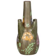 Art Nouveau Ceramic Amphora Vase Poppies by Stellmacher