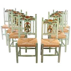 Eight Hand-Carved and Hand-Painted Parrot-Back Dining Chairs
