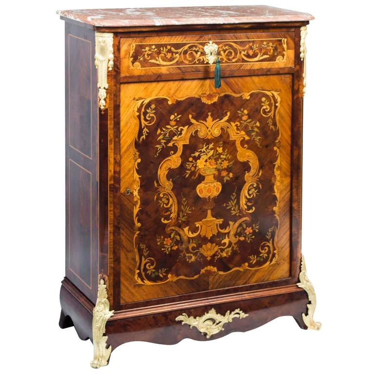 Antique French Napoleon III Marquetry Cabinet, circa 1860 For Sale - Antique French Napoleon III Marquetry Cabinet, Circa 1860 At 1stdibs