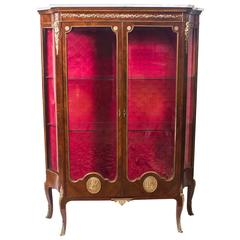 Early 20th Century French Kingwood Marble-Top Vitrine Cabinet