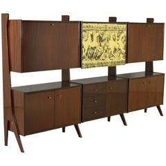 Cabinet Ebonized Wood Veneer Screen Painted Panel Vintage, Italy, 1960