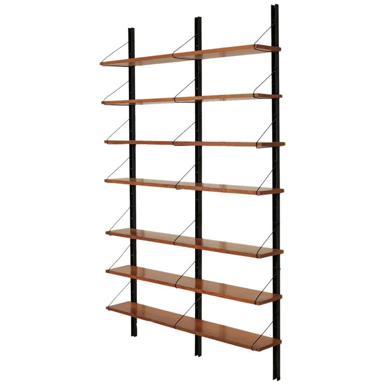 Wall Bookcase Metal Uprights Maple Shelves Vintage