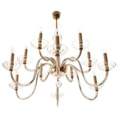 Large Art Deco Chandelier by Lobmeyr, Brass Amber Glass, Austria, 1930