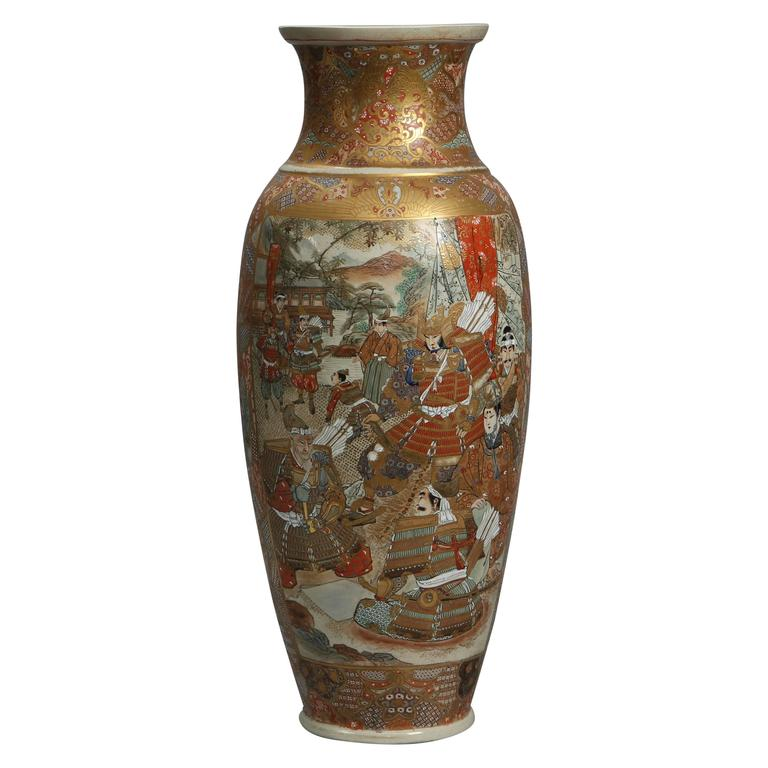 Late 19th Century Meiji Period Japanese Satsuma Vase With Samurai Warriors At 1stdibs
