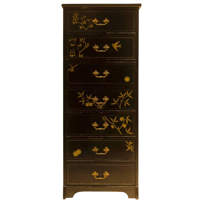 Rare and Early Anglo-Japanese Ebonized Tall Chest of Drawers by D. Cottier