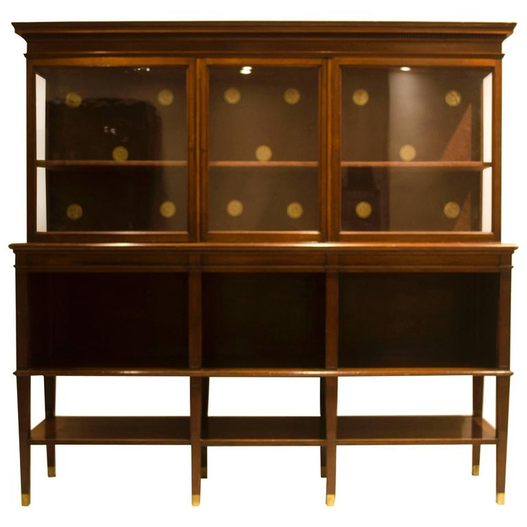 Arts and Crafts Walnut and Glazed Side Cabinet by E W Godwin