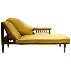 Aesthetic Movement Walnut and Ebonized Chaise Lounge Attributed to J Moyr Smith