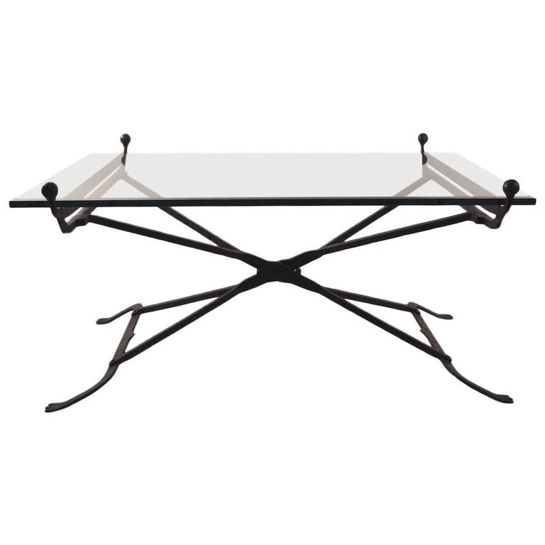 Wrought Iron Glass Top Coffee Table In The Gothic Style