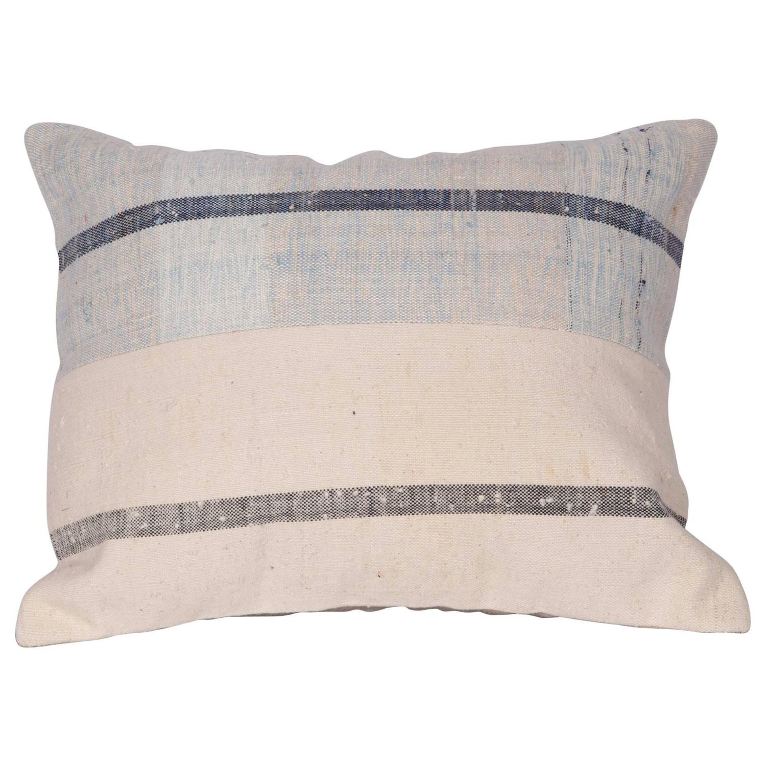 Pillow Made Out of a Mid-20th Century Anatolian Cotton Kilim For Sale at 1stdibs