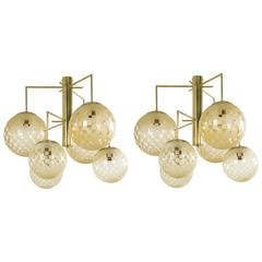 Pair of Contemporary Six-Arm Italian Chandeliers