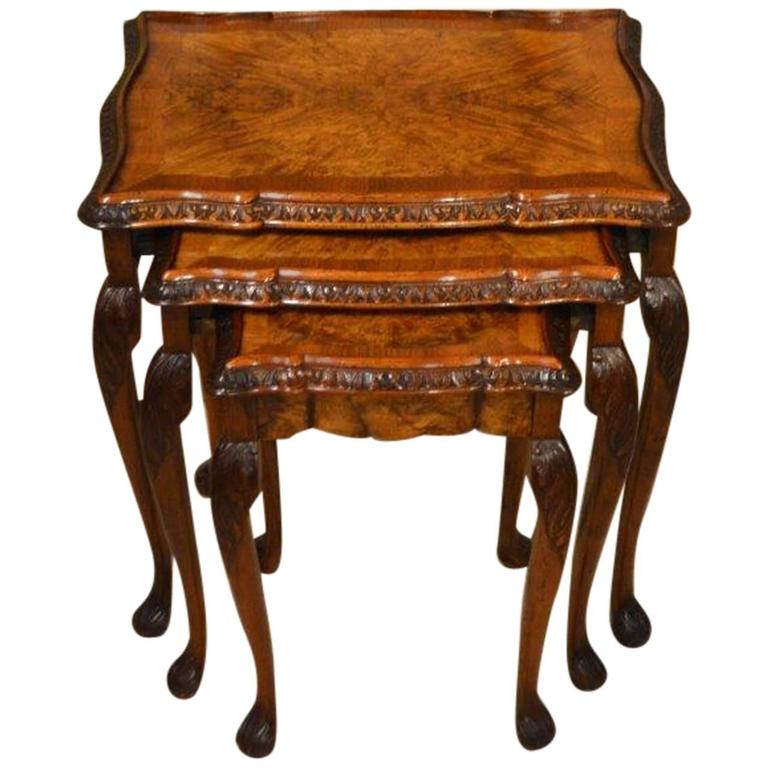 Delightful 1920s Period Burr Walnut Queen Anne Style Antique Nest Of Tables 1
