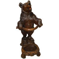 Finely Carved Black Forest Linden Wood Bear Stick Stand