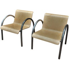 Pair of Design Mid-Century Metal and Wood stack-able Armchairs, 1950