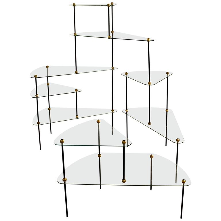 Freeform Modular Glass Shelving Unit, French, 1950s For Sale Amazing Design