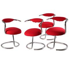 Four Chairs with a Tubular Chromed Metal Structure by Giotto Stoppino