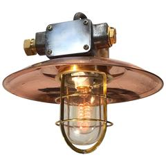 Mid-Century Iron & Copper Explosion Proof Pendant with Glass Dome & Edison Bulb