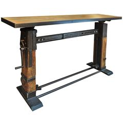 Industrial Console Table Iron and Wood, 1920