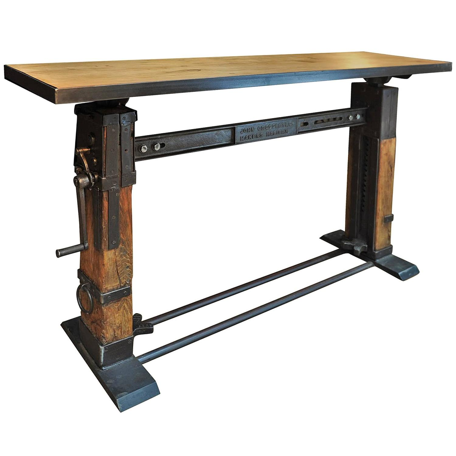 Industrial Console Table Iron And Wood 1920 At 1stdibs