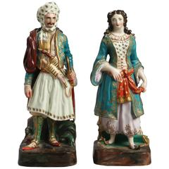 Pair of 19th Century Paris Porcelain Figural Scent Bottles