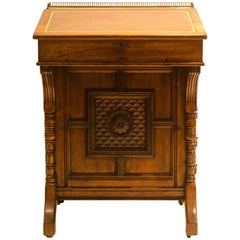 B Talbert for Gillows Aesthetic Movement Davenport with Central Carved Rosette