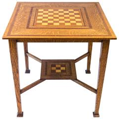 Arts & Crafts Oak Chess Table