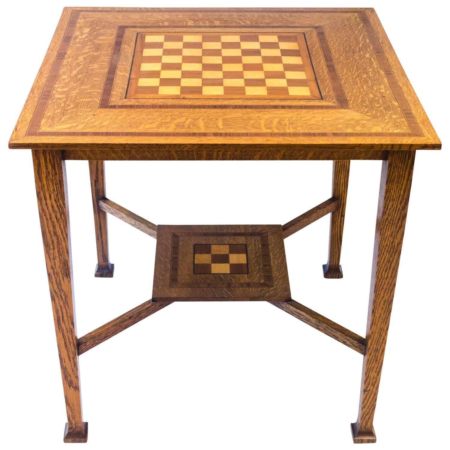 Arts And Crafts Oak Chess Table At 1stdibs