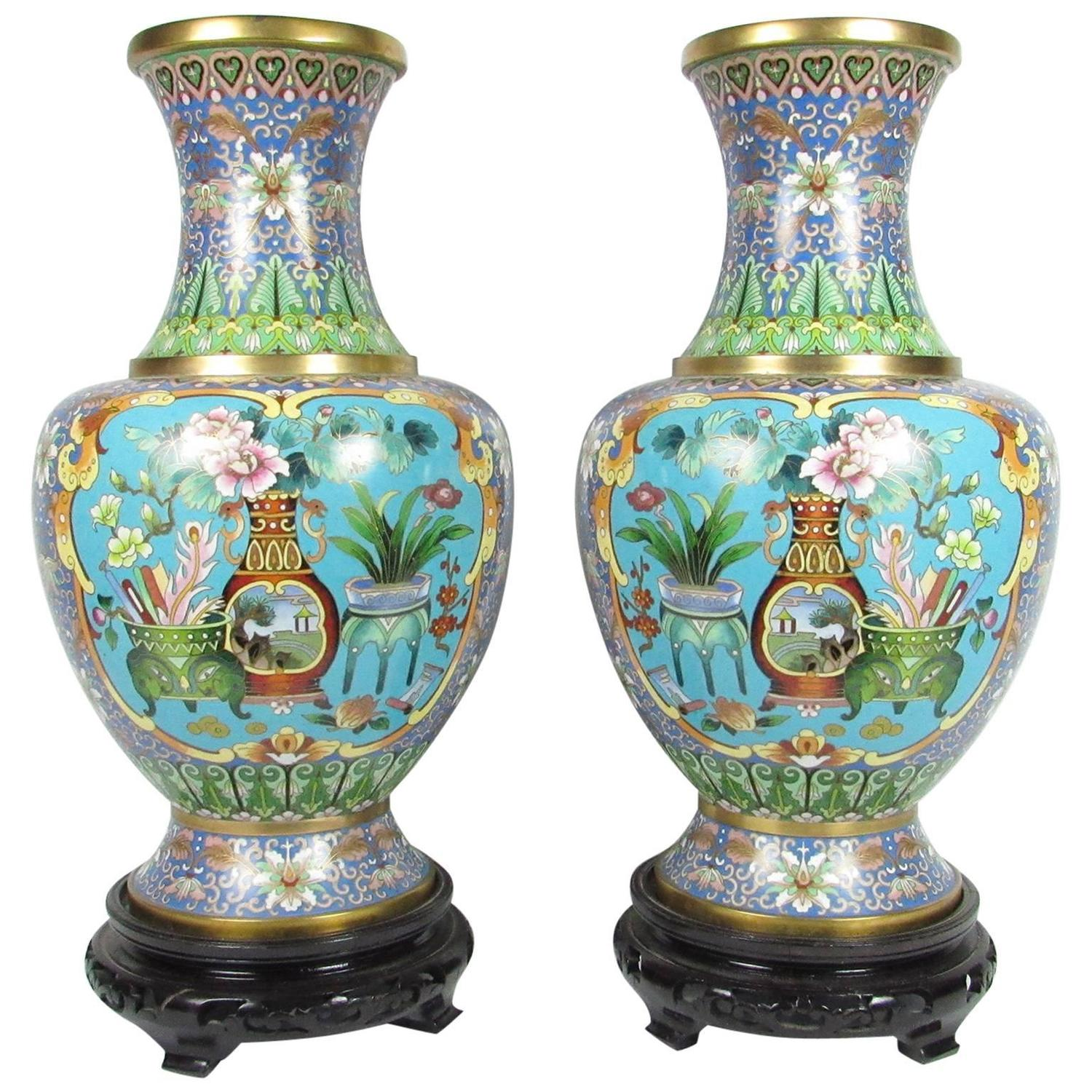 Pair of mid 20th century chinese cloisonn vases for sale at 1stdibs reviewsmspy