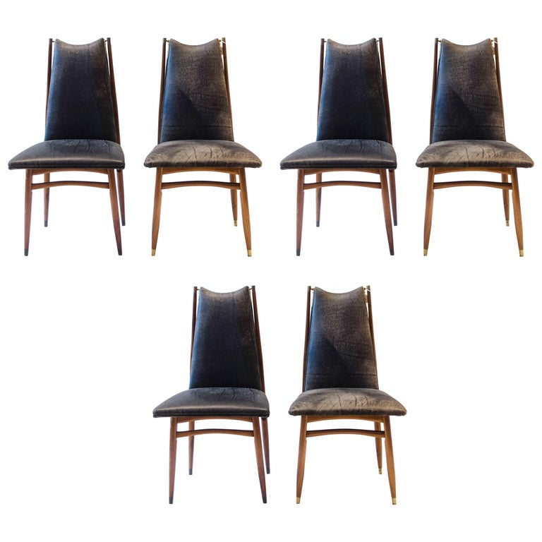 Set of 12 Mid Century Modern teak Dining Chairs with Decorative Brass Fittings For Sale