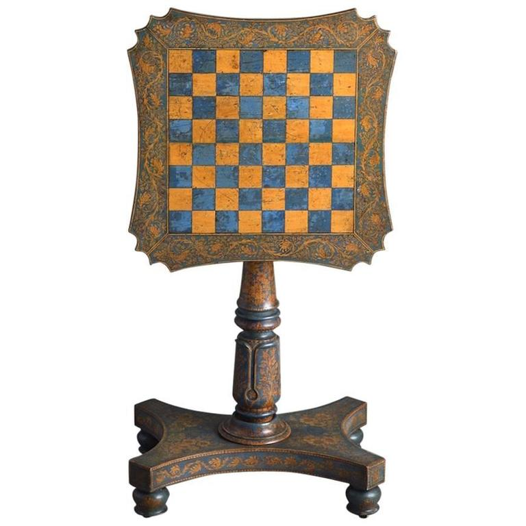 George Iv Blue And Yellow Ochre Penwork Table At 1stdibs