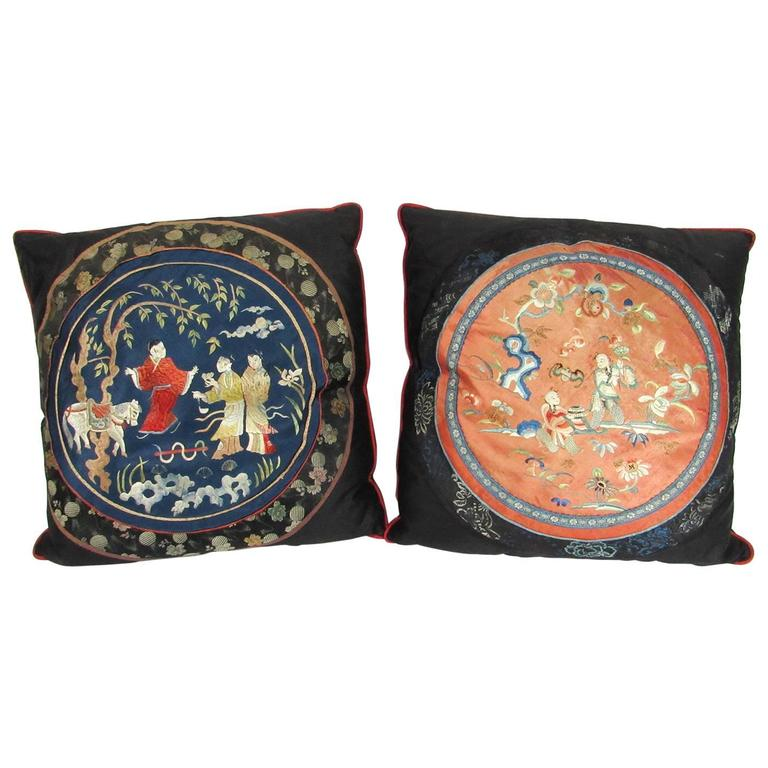 Two 19th Century Chinese Silk Embroidered Textiles Fashioned as Pillows For Sale